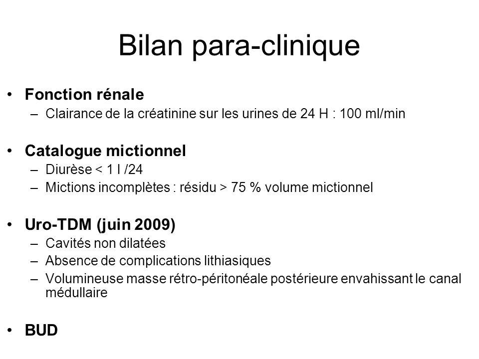 Bilan para-clinique Fonction rénale Catalogue mictionnel