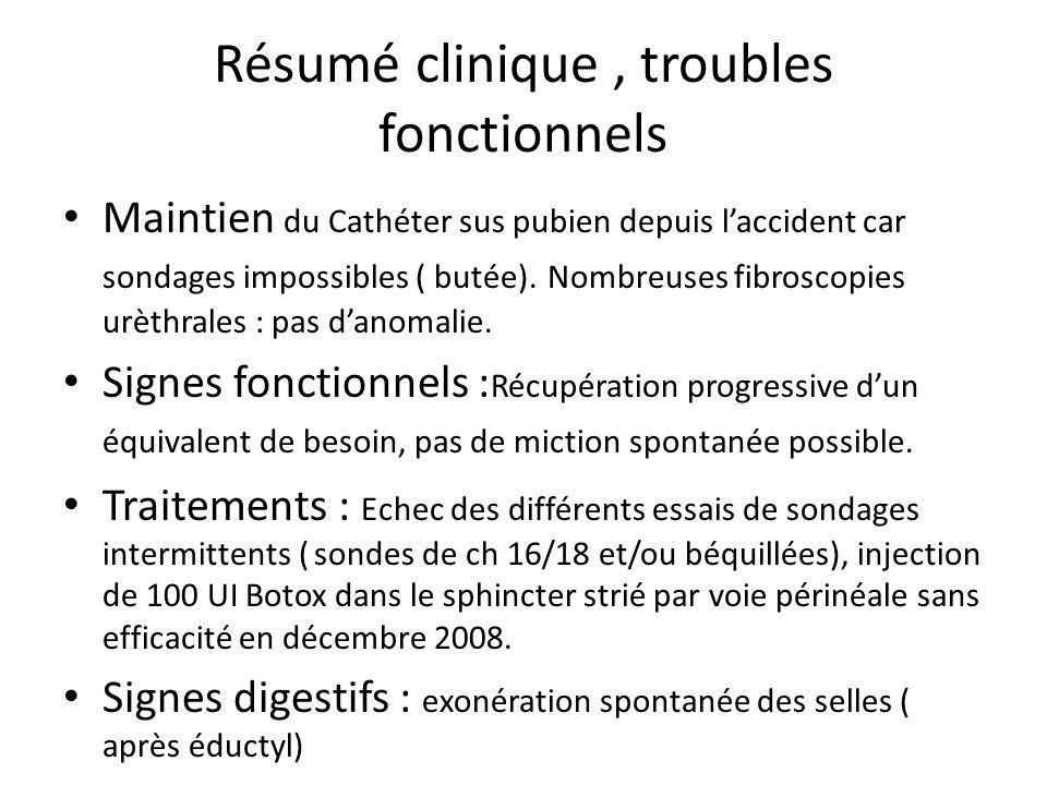 Résumé clinique , troubles fonctionnels