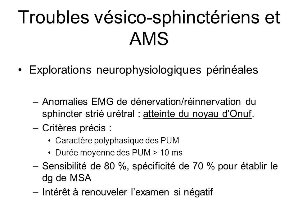 Troubles vésico-sphinctériens et AMS