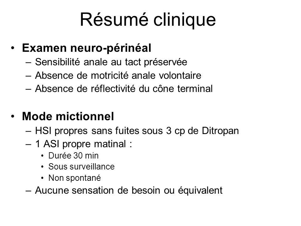 Résumé clinique Examen neuro-périnéal Mode mictionnel