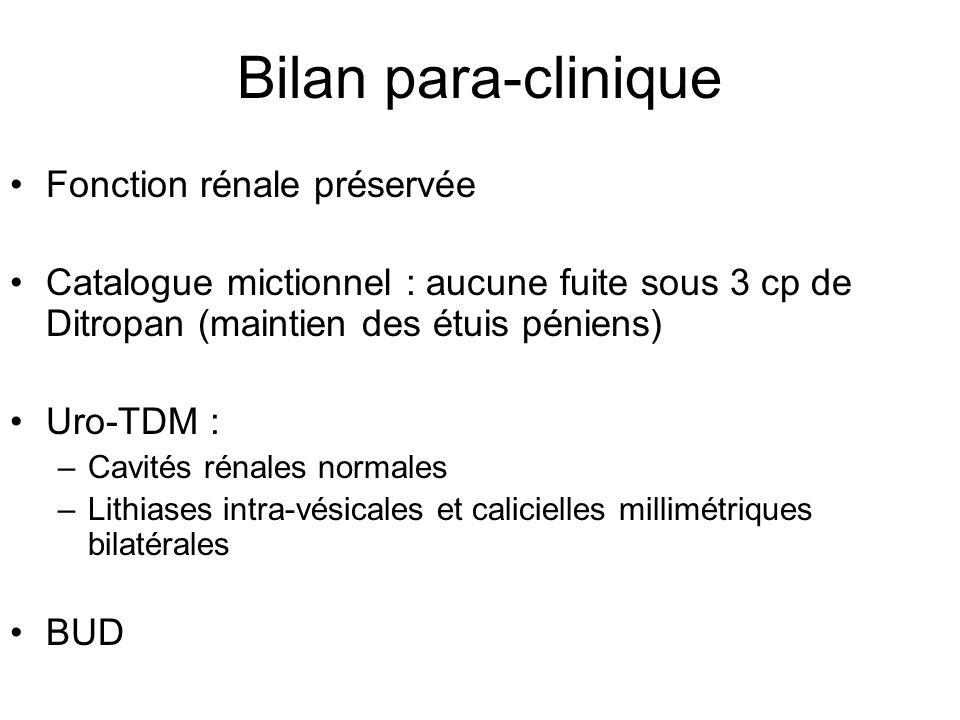 Bilan para-clinique Fonction rénale préservée