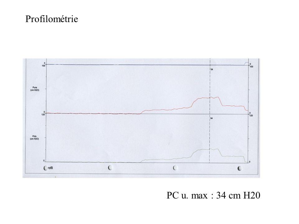 Profilométrie PC u. max : 34 cm H20