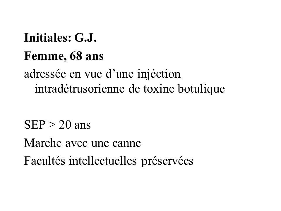 Initiales: G.J. Femme, 68 ans. adressée en vue d'une injéction intradétrusorienne de toxine botulique.