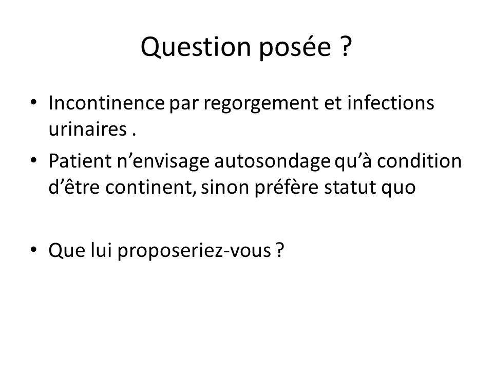 Question posée Incontinence par regorgement et infections urinaires .