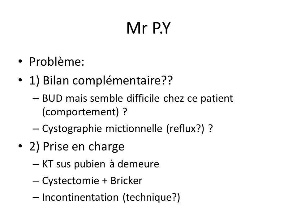Mr P.Y Problème: 1) Bilan complémentaire 2) Prise en charge