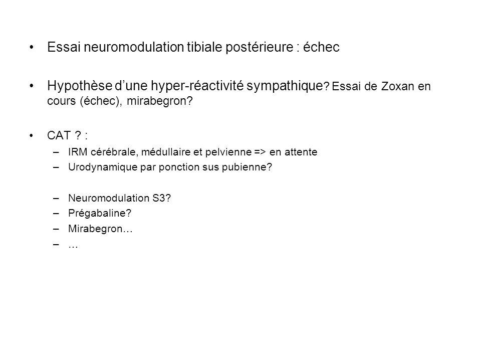 Essai neuromodulation tibiale postérieure : échec