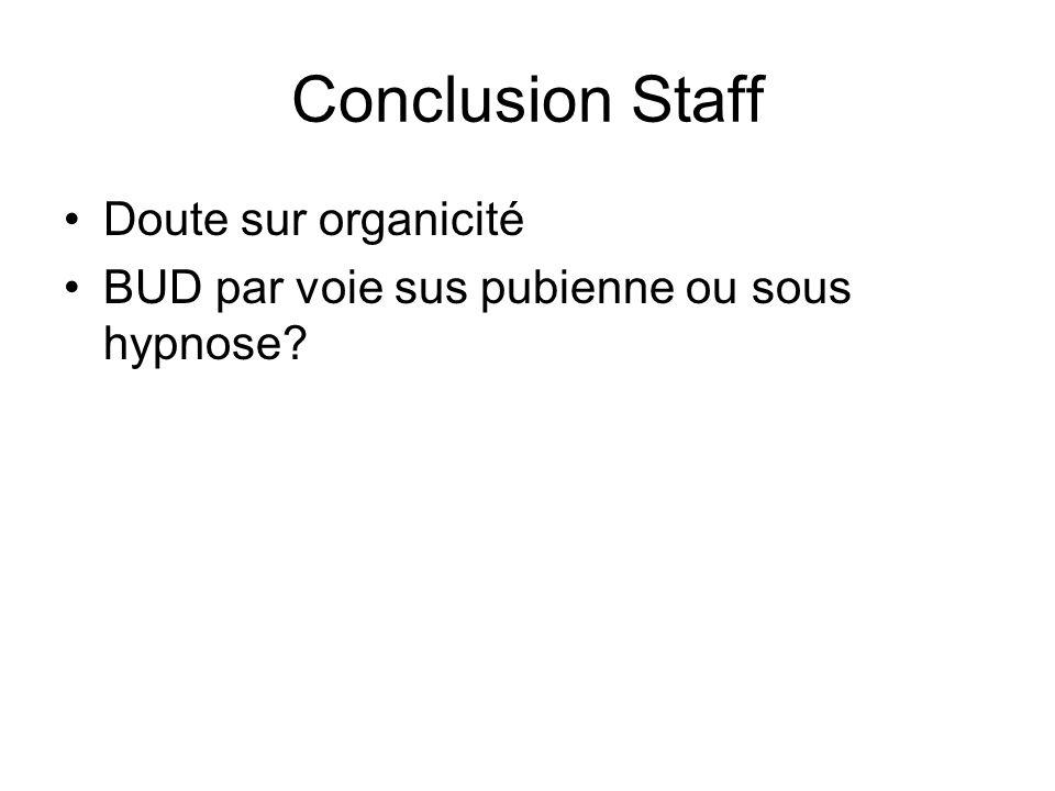 Conclusion Staff Doute sur organicité