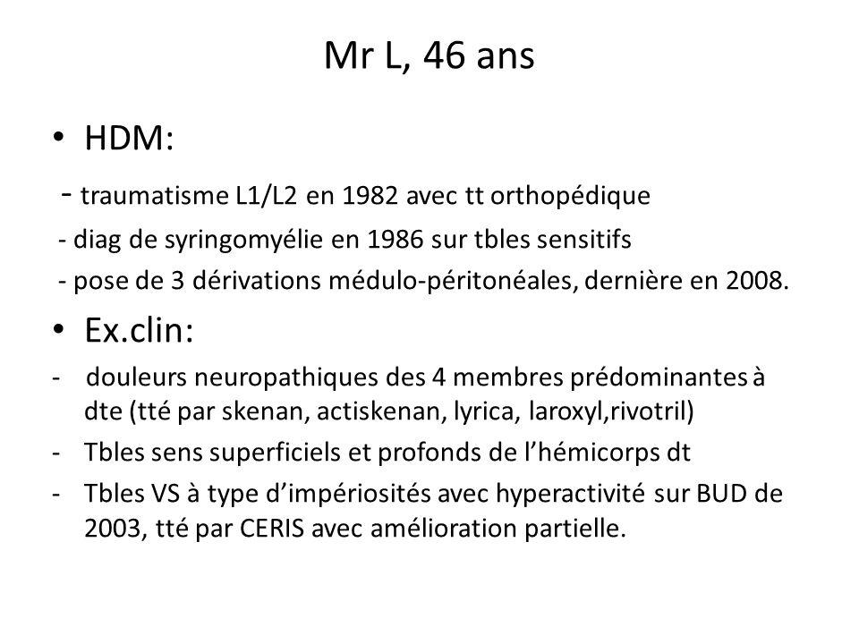 Mr L, 46 ans HDM: - traumatisme L1/L2 en 1982 avec tt orthopédique