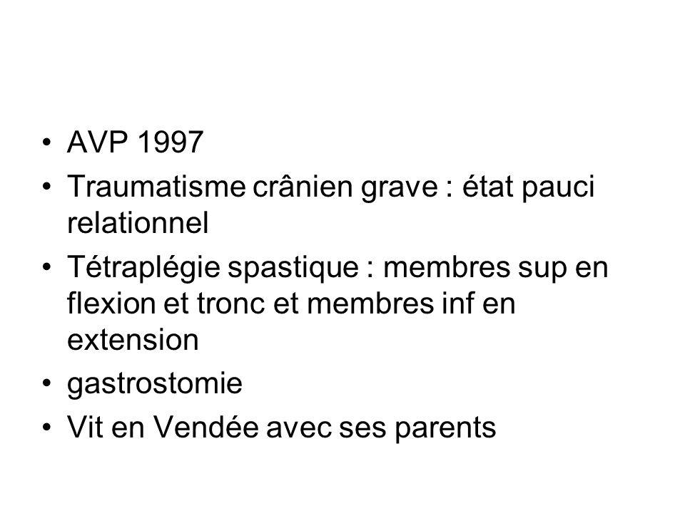 AVP 1997 Traumatisme crânien grave : état pauci relationnel. Tétraplégie spastique : membres sup en flexion et tronc et membres inf en extension.