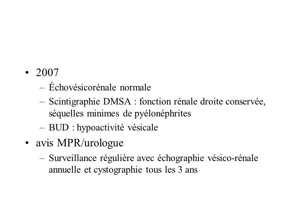 2007 avis MPR/urologue Échovésicorénale normale