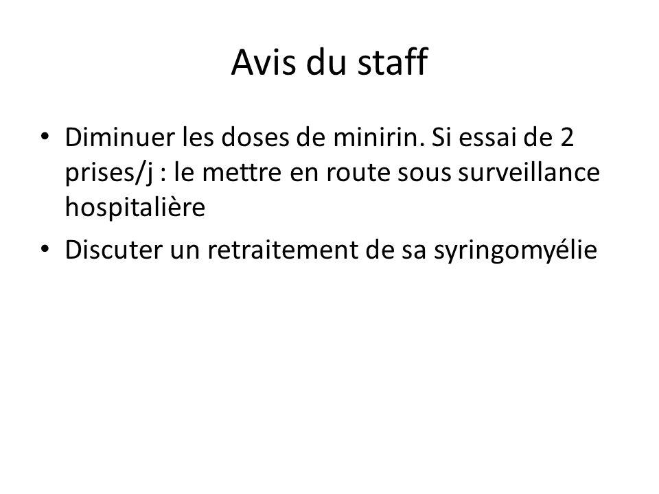 Avis du staffDiminuer les doses de minirin. Si essai de 2 prises/j : le mettre en route sous surveillance hospitalière.