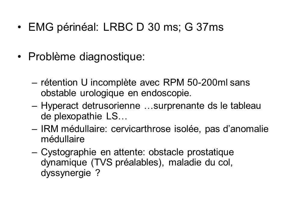 EMG périnéal: LRBC D 30 ms; G 37ms Problème diagnostique: