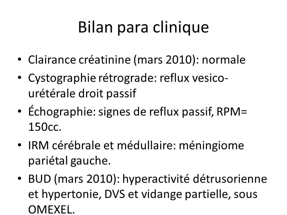 Bilan para clinique Clairance créatinine (mars 2010): normale