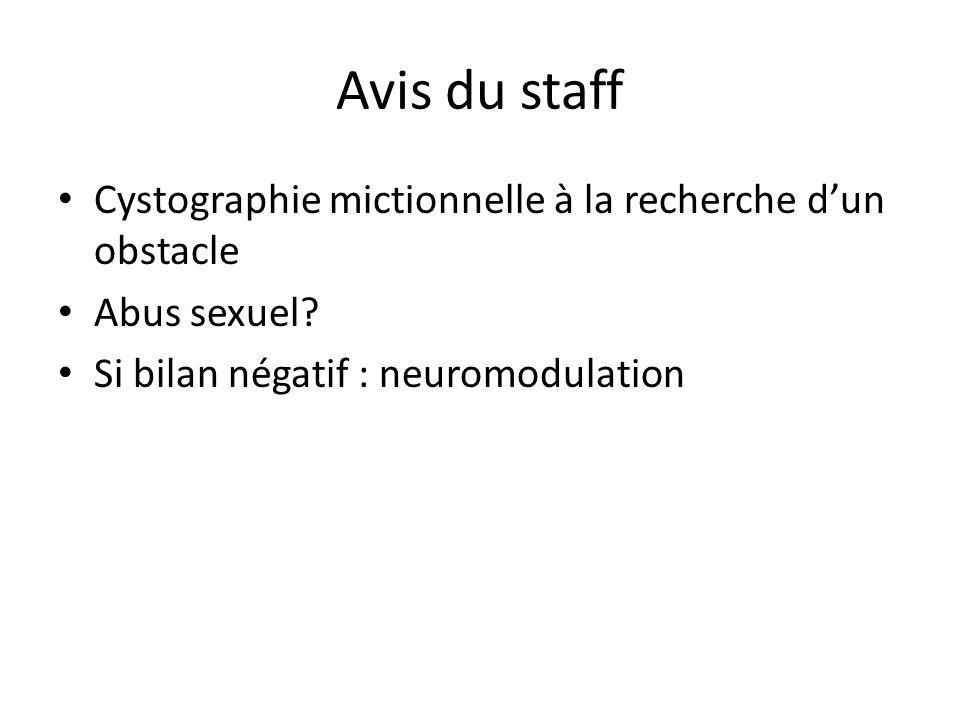 Avis du staff Cystographie mictionnelle à la recherche d'un obstacle
