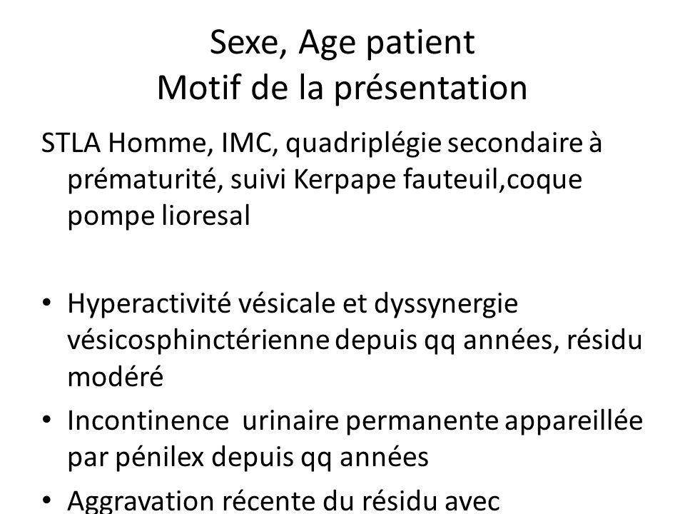 Sexe, Age patient Motif de la présentation