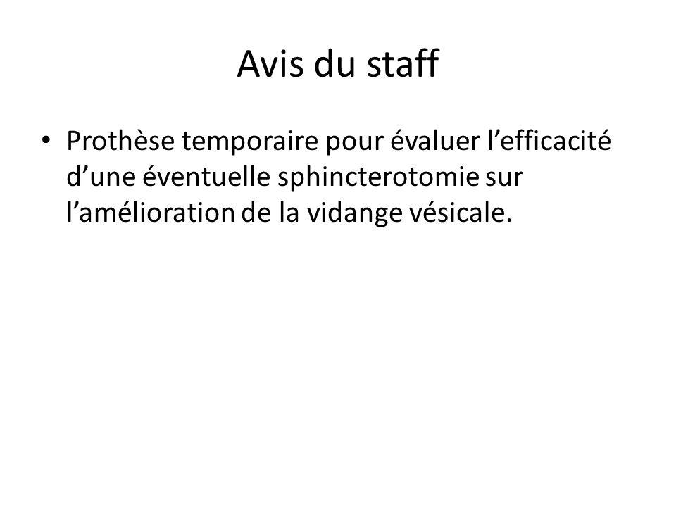 Avis du staff Prothèse temporaire pour évaluer l'efficacité d'une éventuelle sphincterotomie sur l'amélioration de la vidange vésicale.