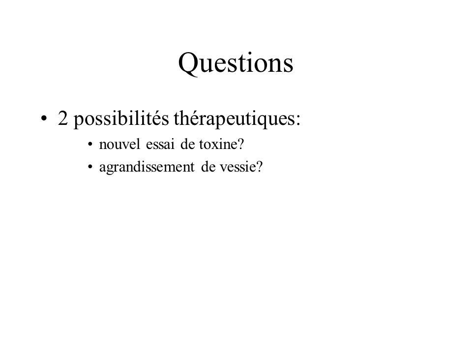 Questions 2 possibilités thérapeutiques: nouvel essai de toxine
