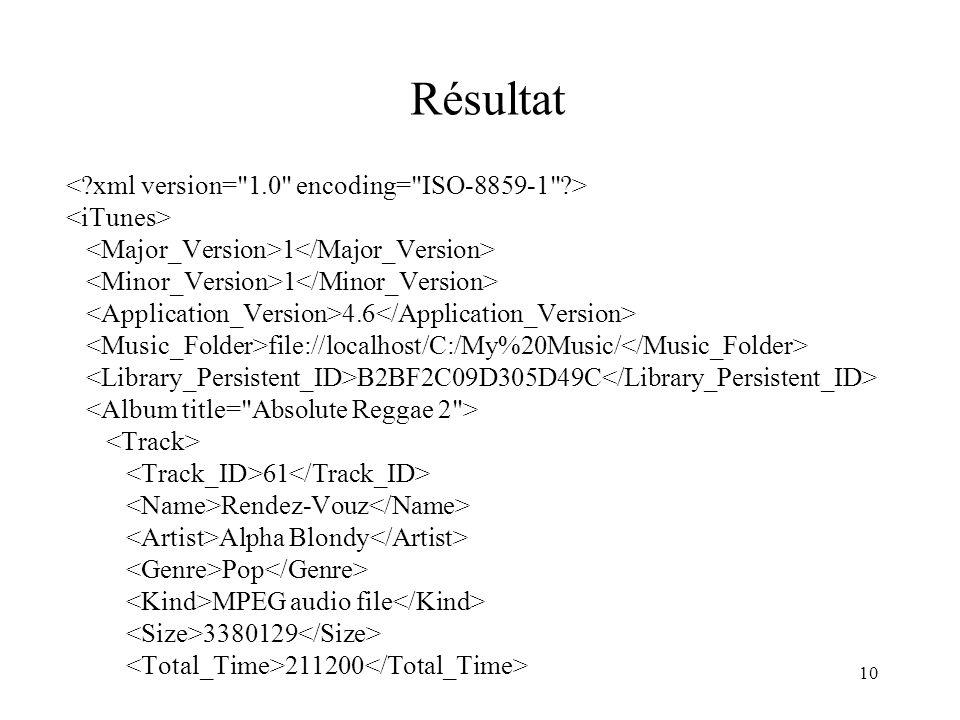 Résultat < xml version= 1.0 encoding= ISO-8859-1 >