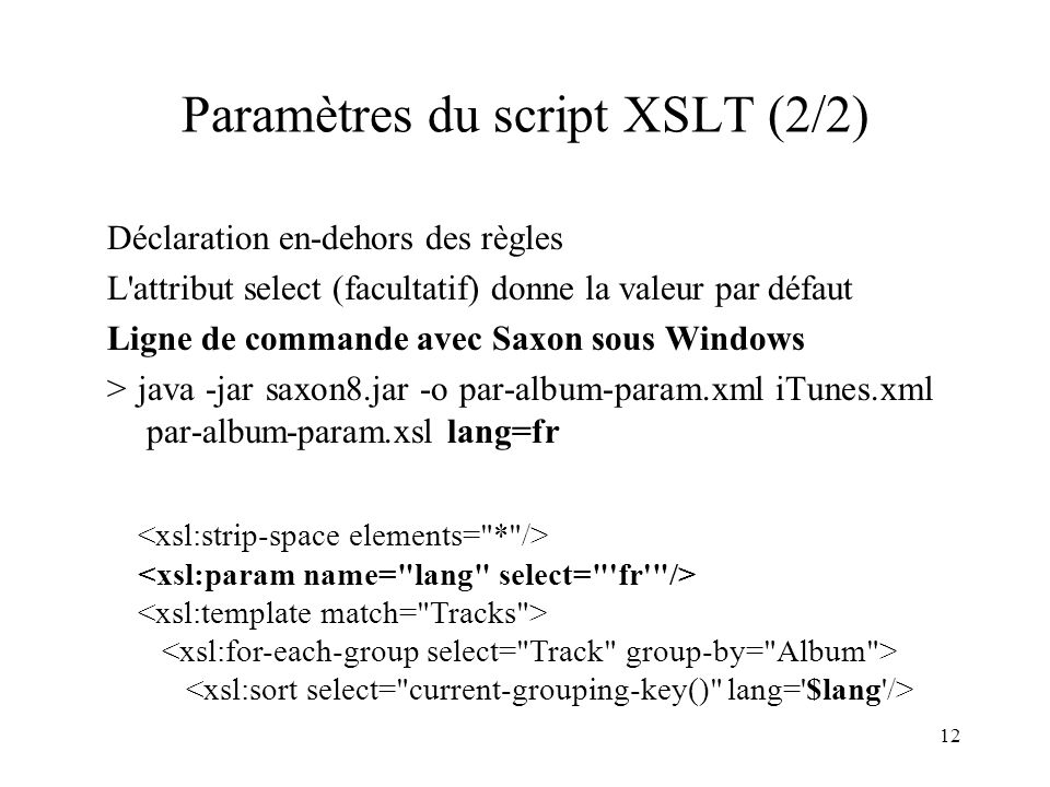 Paramètres du script XSLT (2/2)