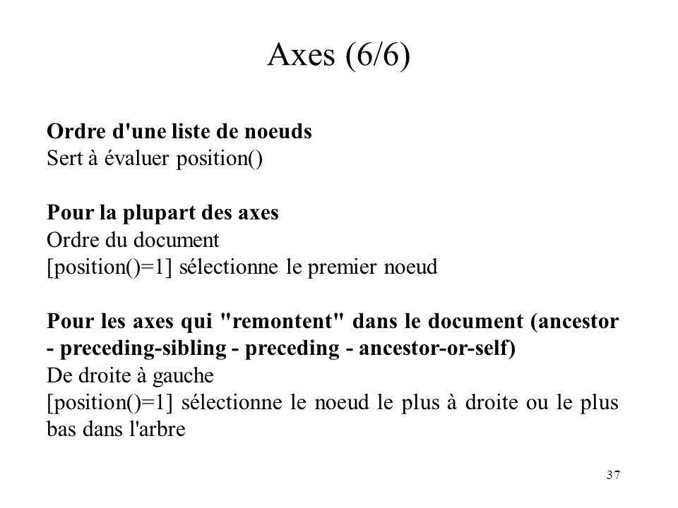 Axes (6/6) Ordre d une liste de noeuds Sert à évaluer position()