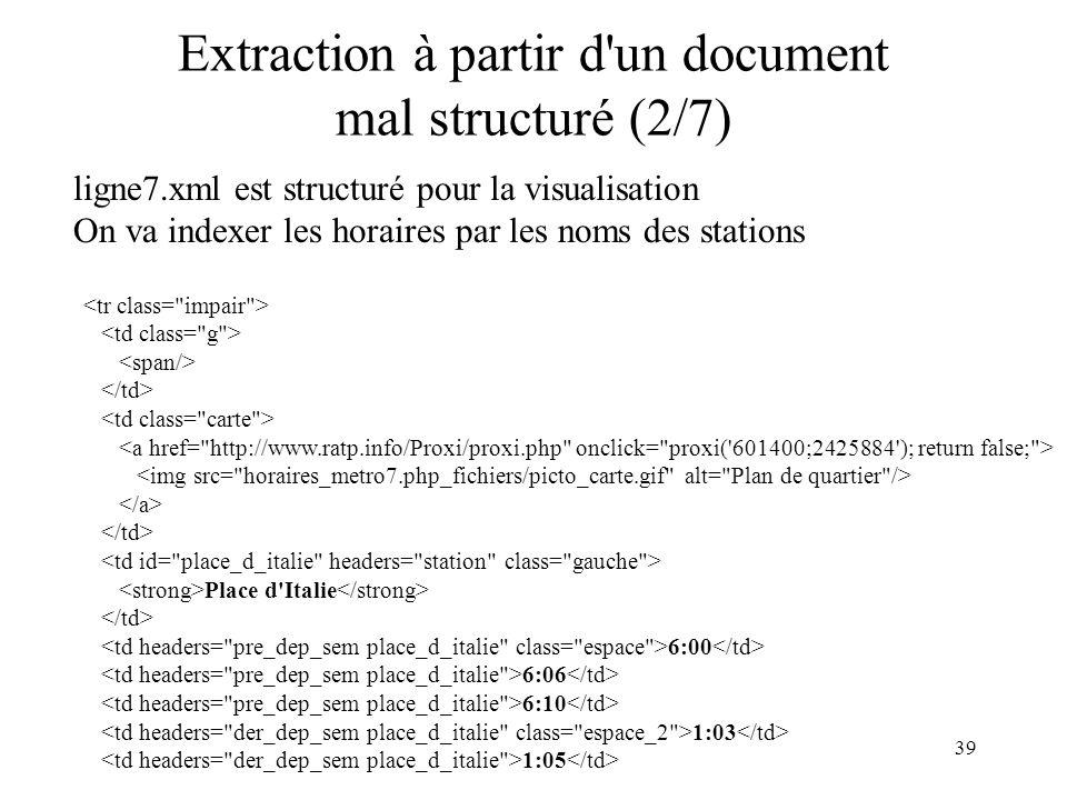 Extraction à partir d un document mal structuré (2/7)