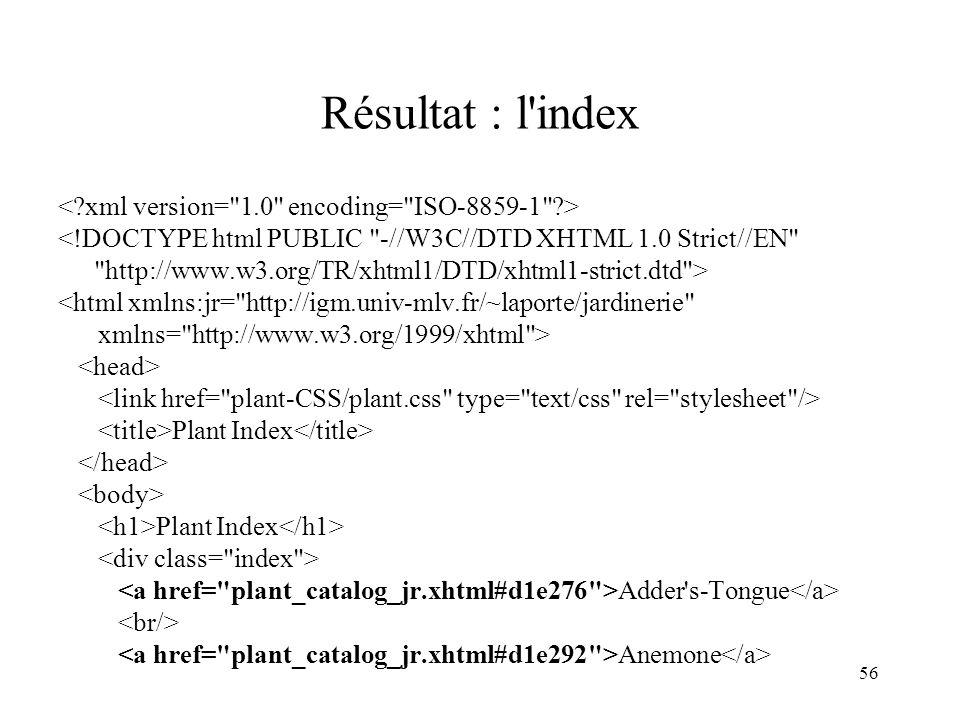 Résultat : l index < xml version= 1.0 encoding= ISO-8859-1 >