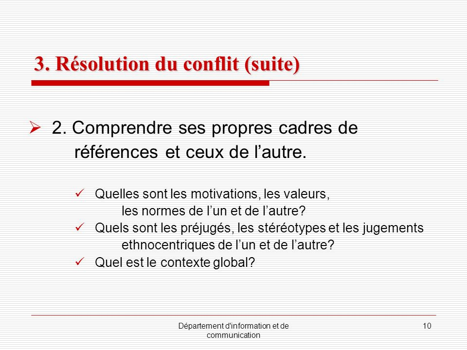 3. Résolution du conflit (suite)