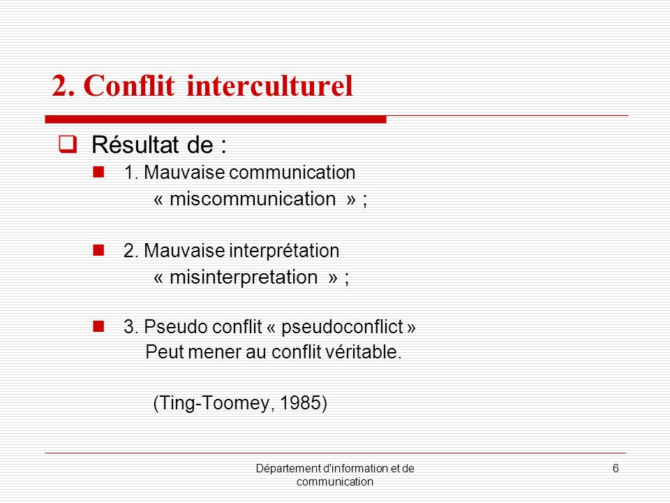 2. Conflit interculturel