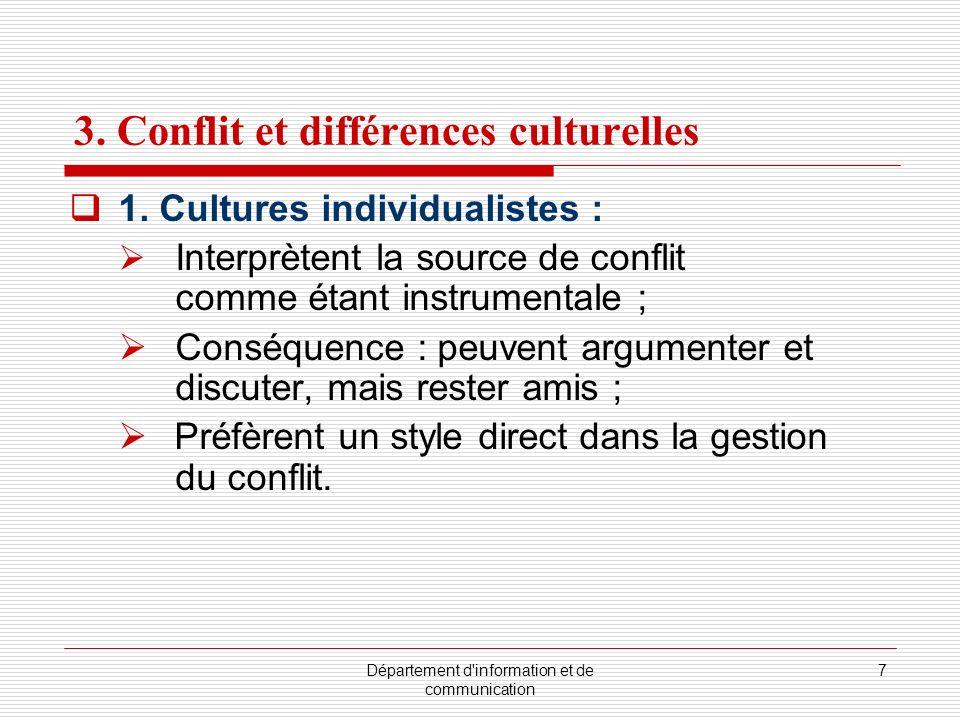 3. Conflit et différences culturelles