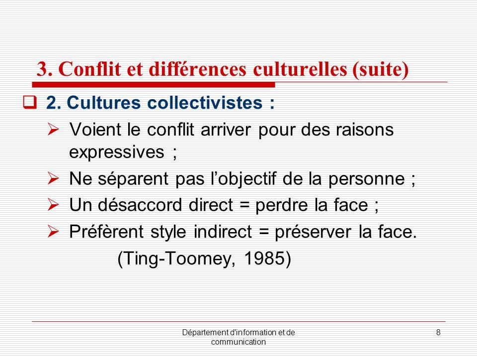 3. Conflit et différences culturelles (suite)