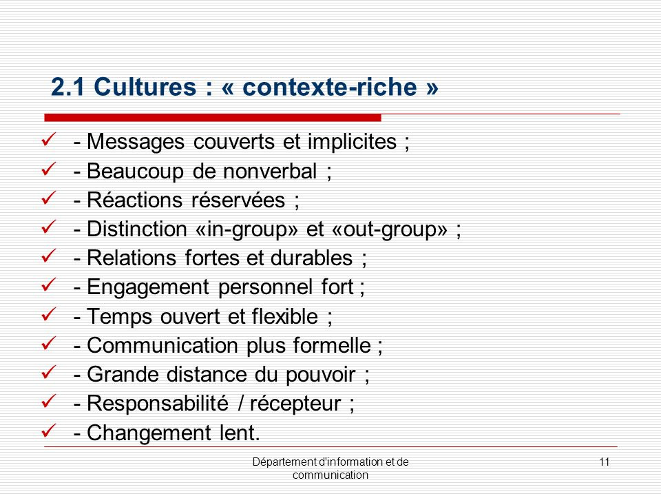 2.1 Cultures : « contexte-riche »