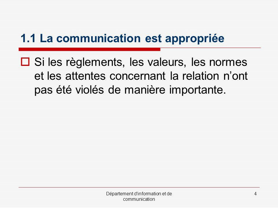 1.1 La communication est appropriée
