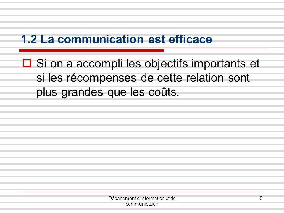 1.2 La communication est efficace