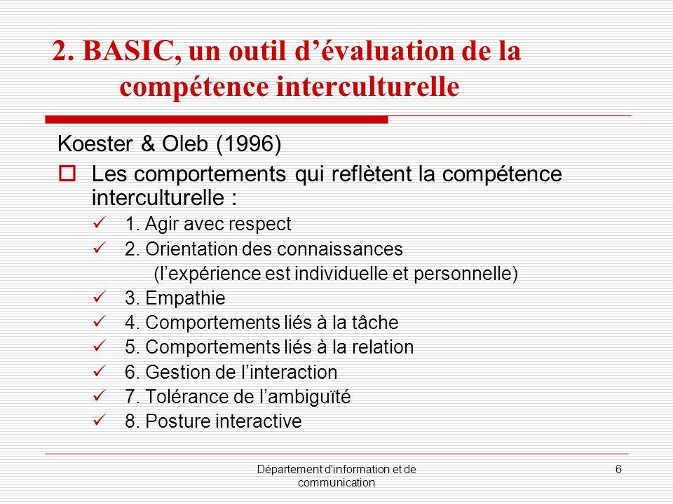 2. BASIC, un outil d'évaluation de la compétence interculturelle