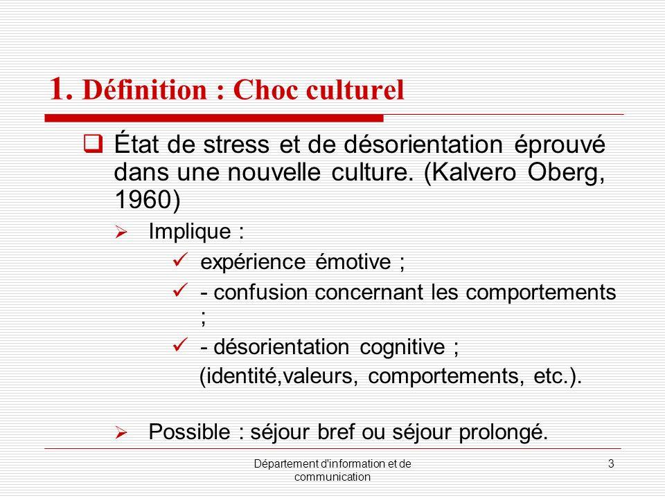 1. Définition : Choc culturel
