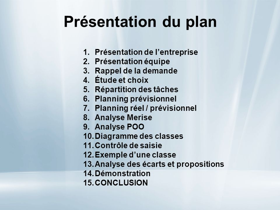 Présentation du plan Présentation de l'entreprise Présentation équipe