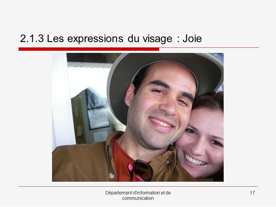 2.1.3 Les expressions du visage : Joie