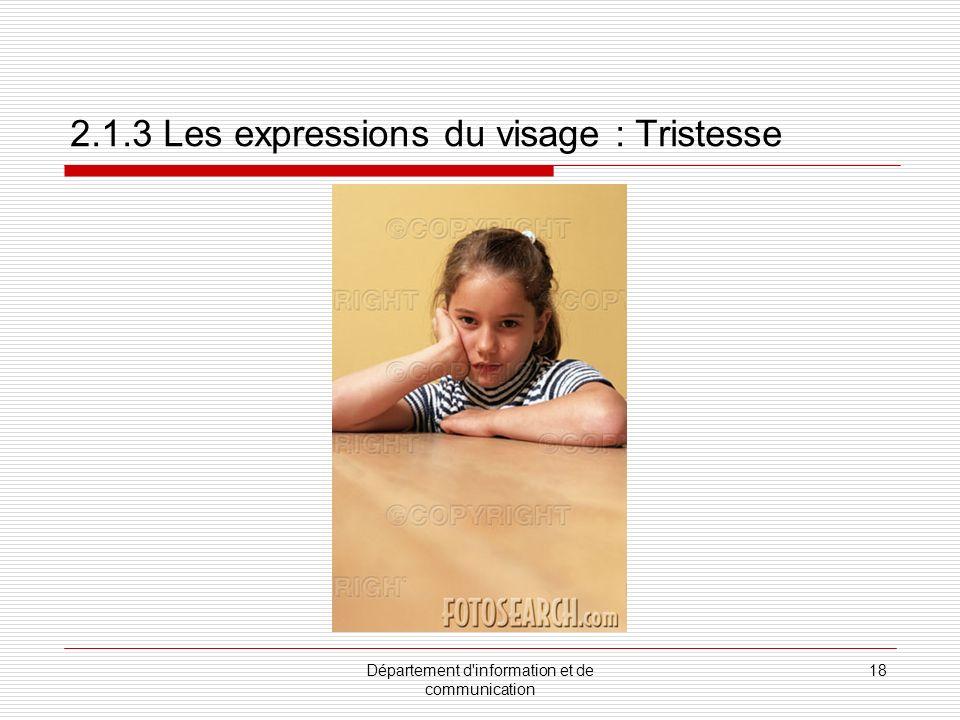 2.1.3 Les expressions du visage : Tristesse