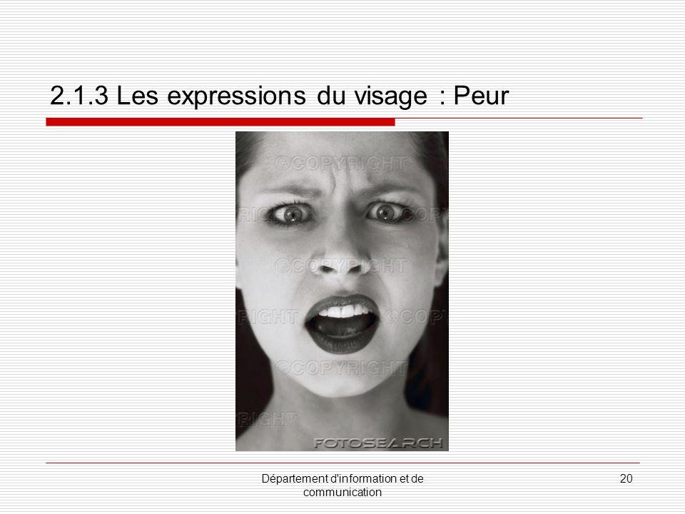 2.1.3 Les expressions du visage : Peur