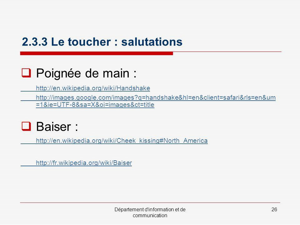 2.3.3 Le toucher : salutations