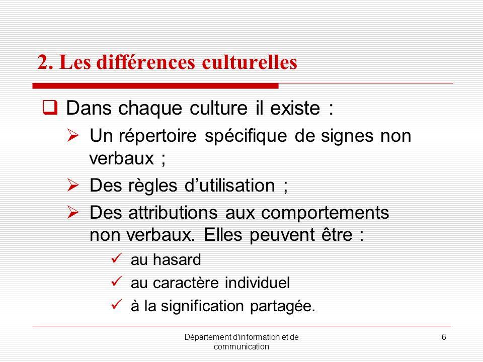 2. Les différences culturelles