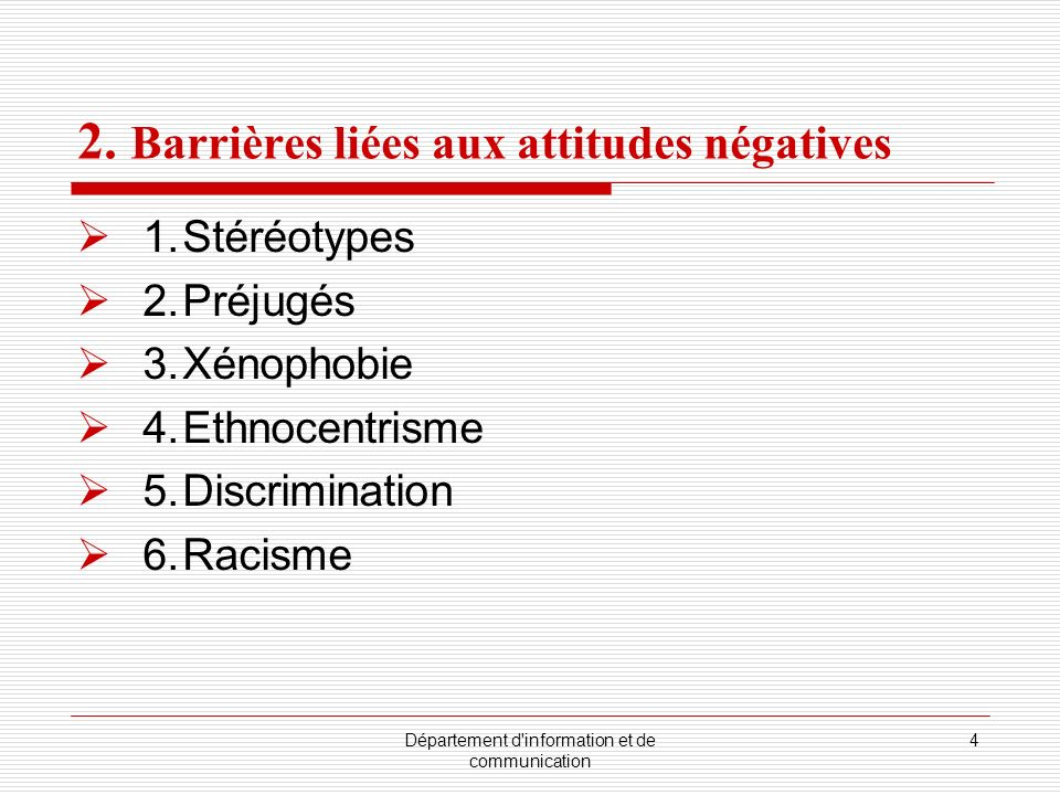 2. Barrières liées aux attitudes négatives