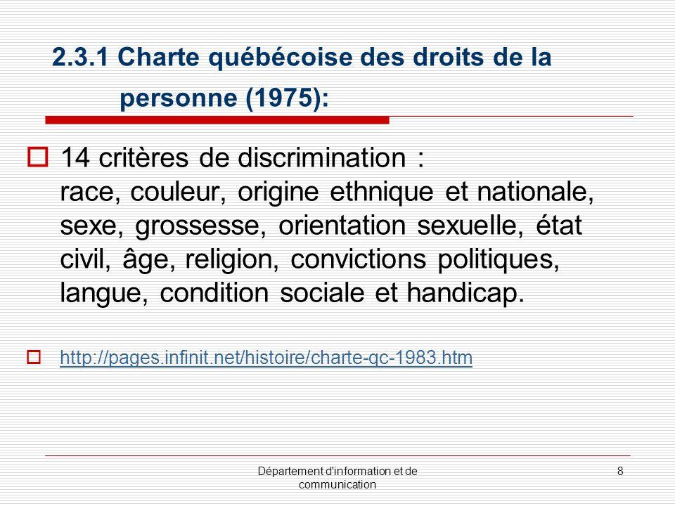 2.3.1 Charte québécoise des droits de la personne (1975):
