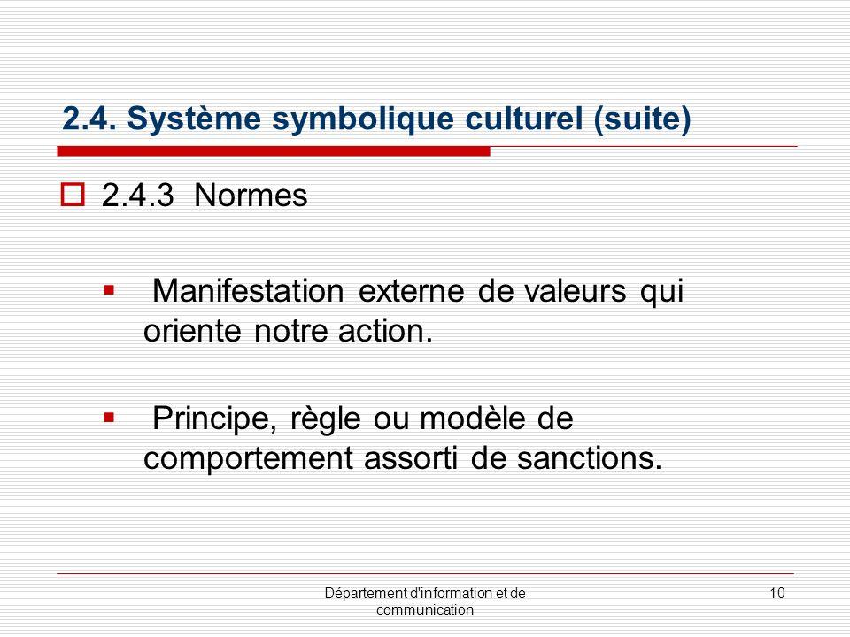 2.4. Système symbolique culturel (suite)