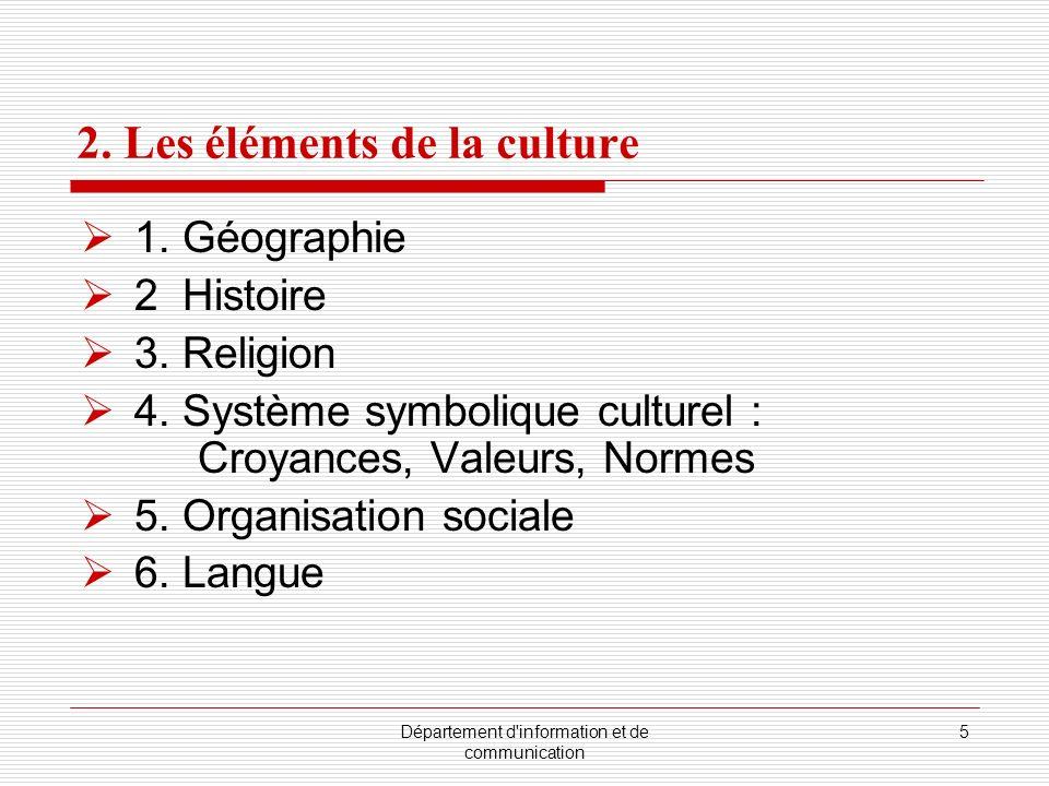 2. Les éléments de la culture