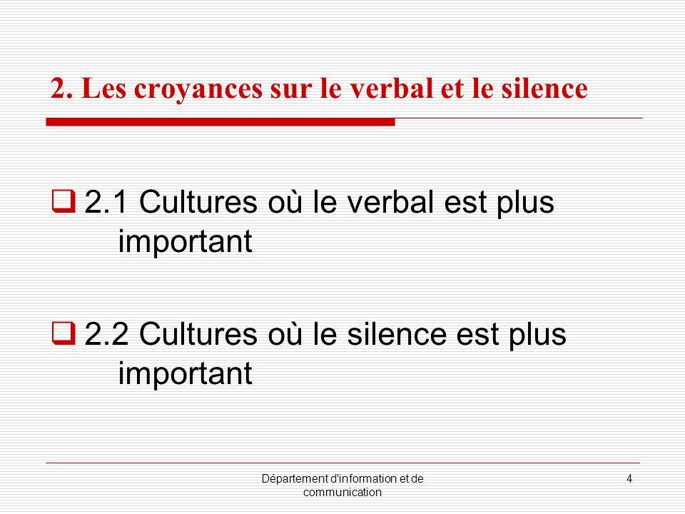 2. Les croyances sur le verbal et le silence