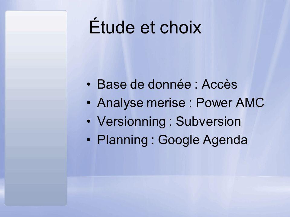 Étude et choix Base de donnée : Accès Analyse merise : Power AMC