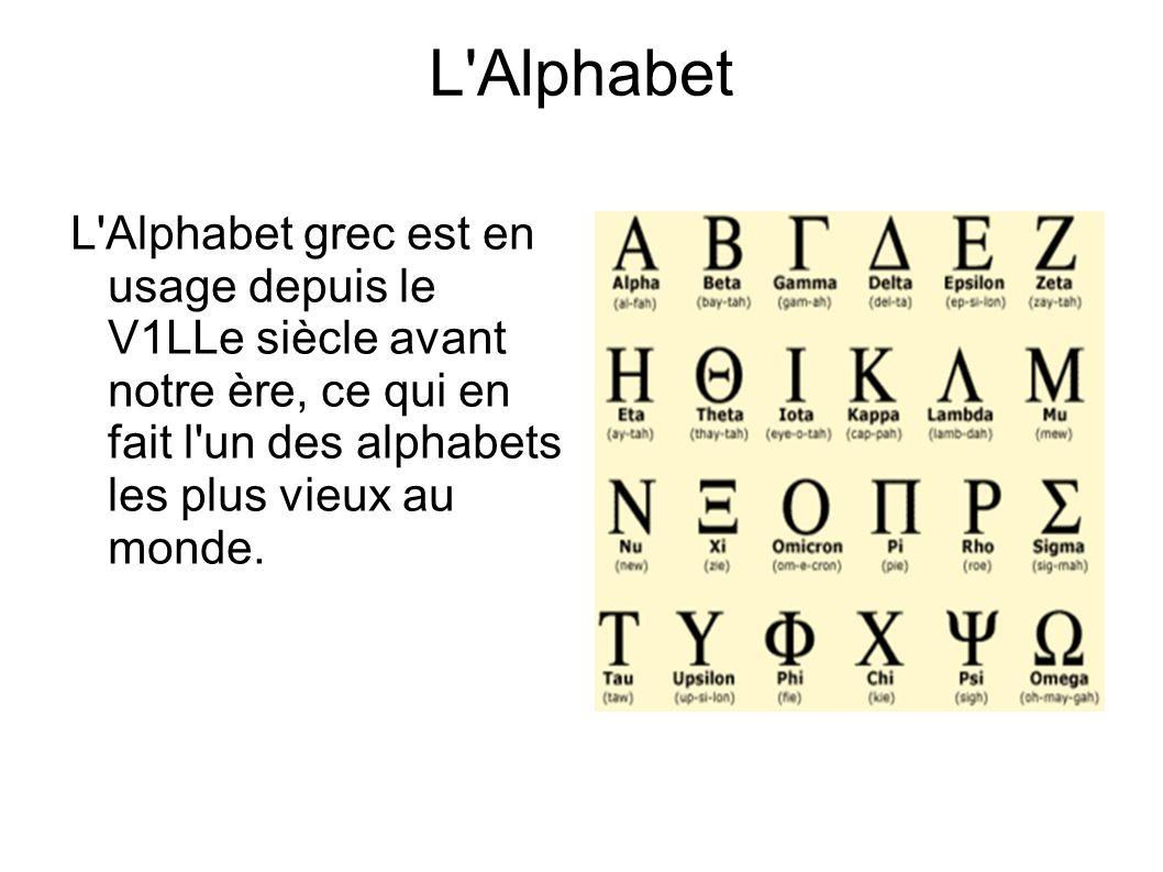 L Alphabet L Alphabet grec est en usage depuis le V1LLe siècle avant notre ère, ce qui en fait l un des alphabets les plus vieux au monde.