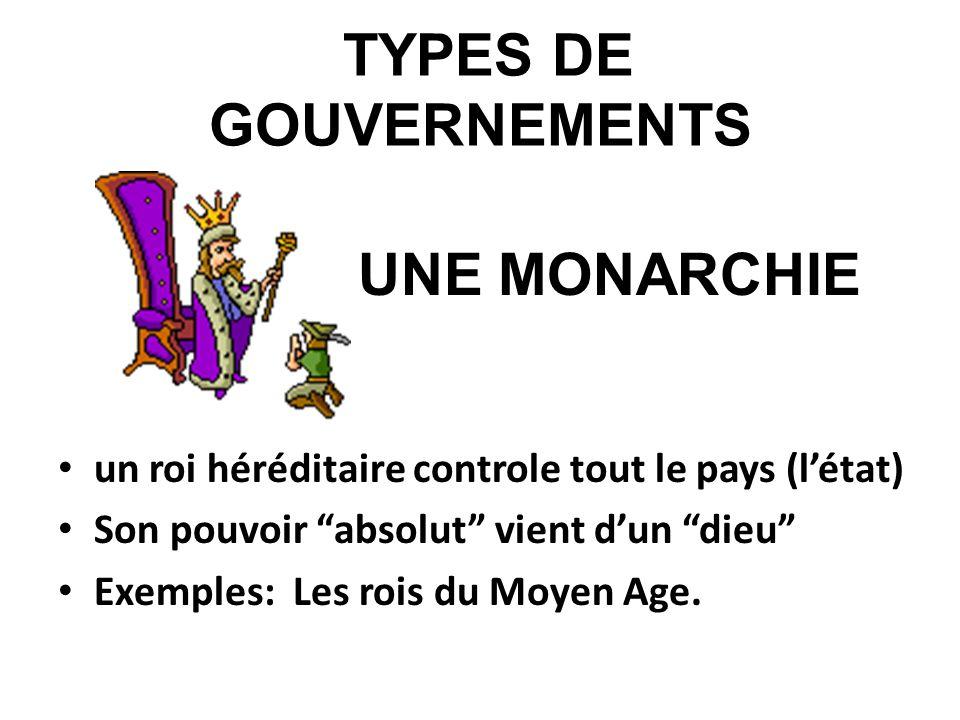 TYPES DE GOUVERNEMENTS