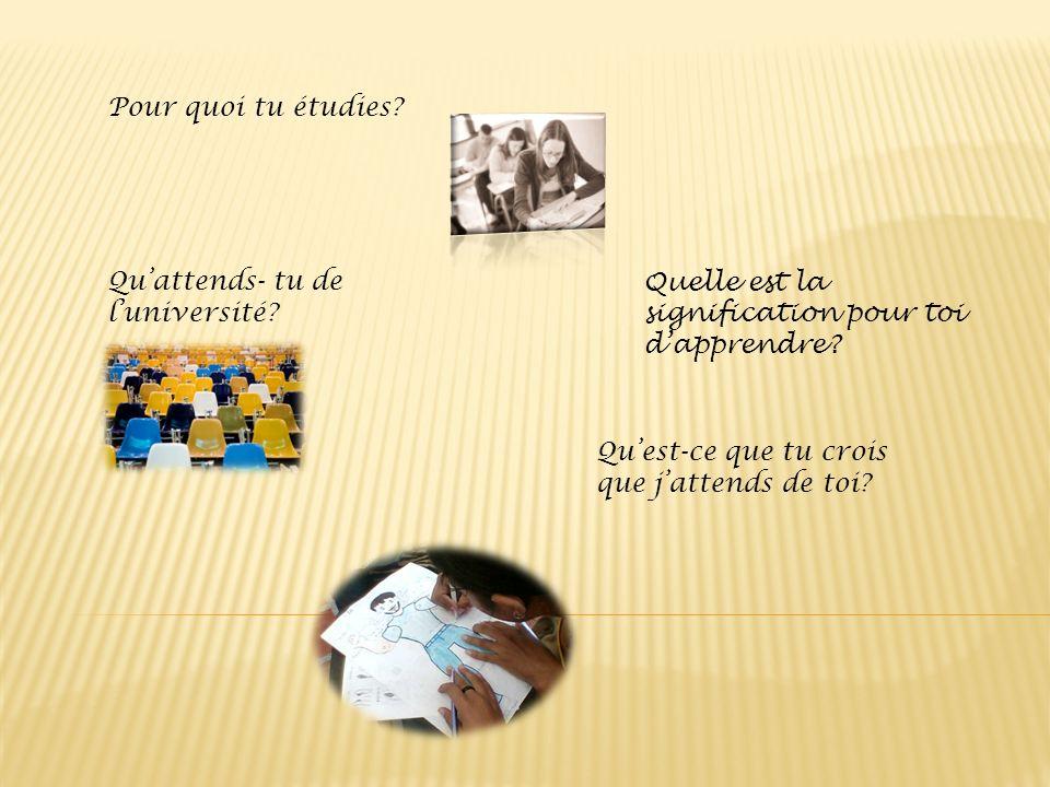 Pour quoi tu étudies Qu'attends- tu de l'université Quelle est la signification pour toi d'apprendre